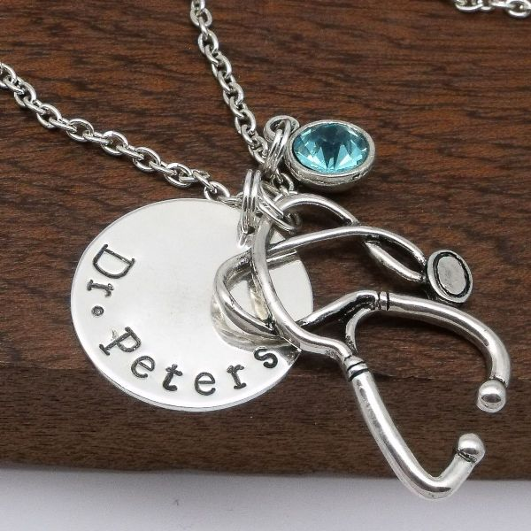 Doctor gift personalised Dr name necklace jewellery